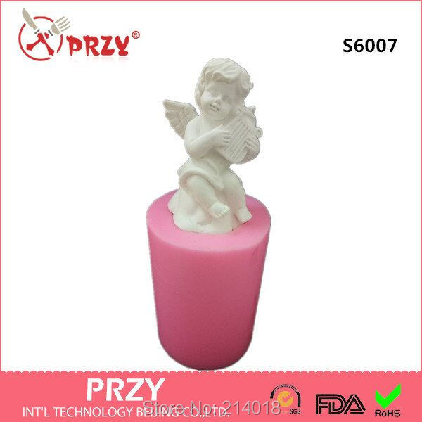 3D Silicone mold soap mold Cupid angel candle molds Hands hold pipa handmade diy for cake decorations S6007 aroma stone molds