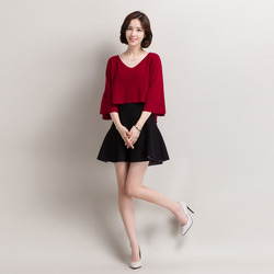 2017 spring autumn new cashmere blended fashion sweaters v collar seven point sleeve short female knitted.jpg 250x250