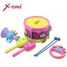 5 unids/set instrumentos musicales tocando conjunto colorido educación toys tambor/handbell/trompeta/martillo de la arena/baquetas
