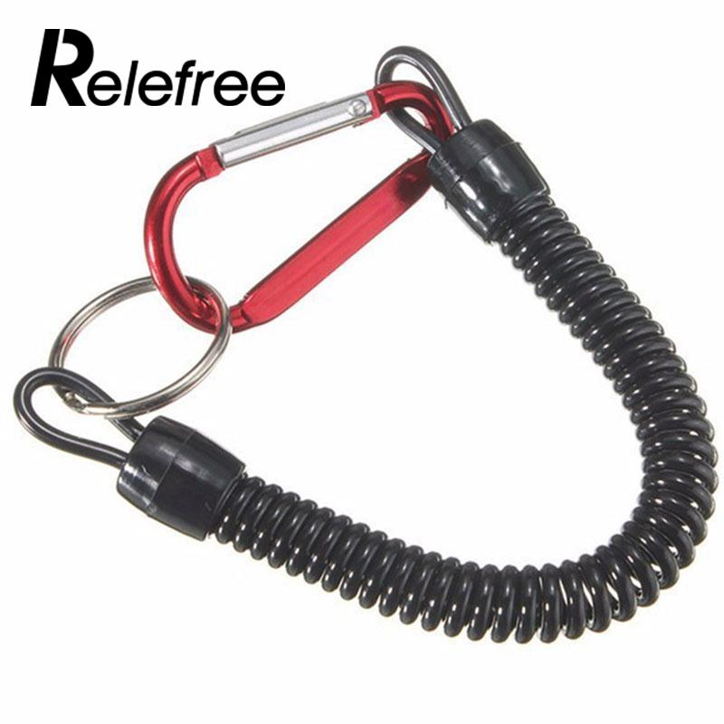 Relefree Portable Fishing Lanyards Rope Boating Kayak Camping Secure Carabiner Secure Lock Grips Tackle Tools With Spring