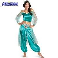 Adult Princess Jasmine Costume Deluxe Aladdin Jasmine Princess Dress Halloween Women Fancy Dress Belly Dance Costume
