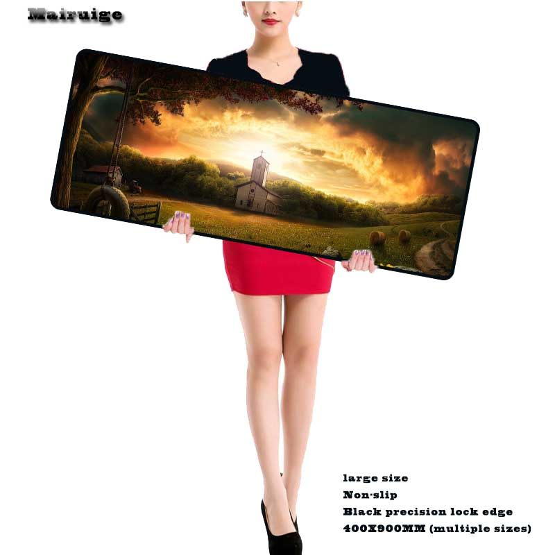 Mairuige Hot Sale Beautiful Scenery Large 900*400 Speed Keyboard Mat Mousepad Gaming Overlock Mouse Pad As Gift