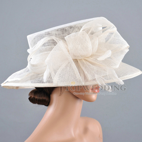 New Sinamay Ivory Wedding Church Hat Formal Occasion Bridal Horse Races Hats For Women Kentucky Derby Spring Fedoras In From S
