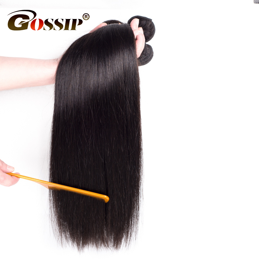 Gossip Hair Unprocessed Virgin Hair Bundles 3 Pieces Natural Color Human Hair Weave Brazilian Straight Hair Bundles ...