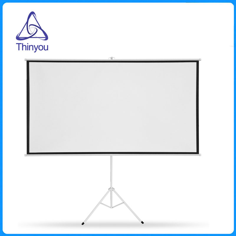 thinyou 100inch 43 matt white tripod projector screen hd floor stand bracket foldable stand