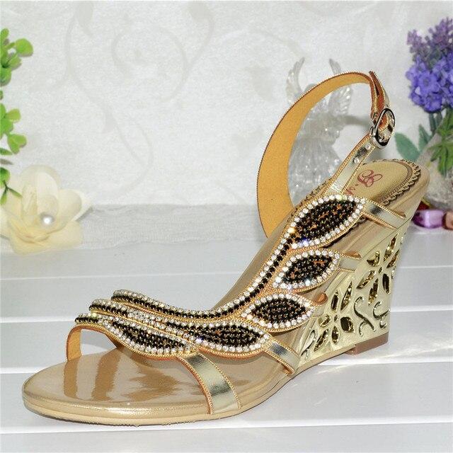 2017 Korean New Summer Gold Wedge Sandals Rhinestone Diamond Sexy High Heels Wedding Shoes Good Qualities