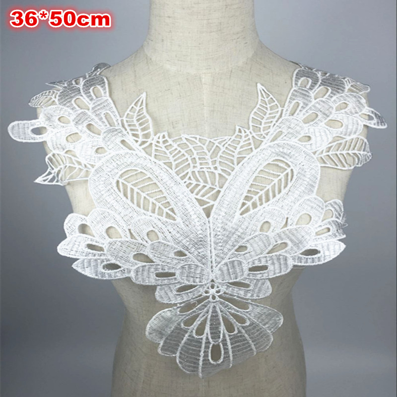 ᗚ1 unids 36*50 cm blanco bordado Encaje cuello escote cuello Venise ...