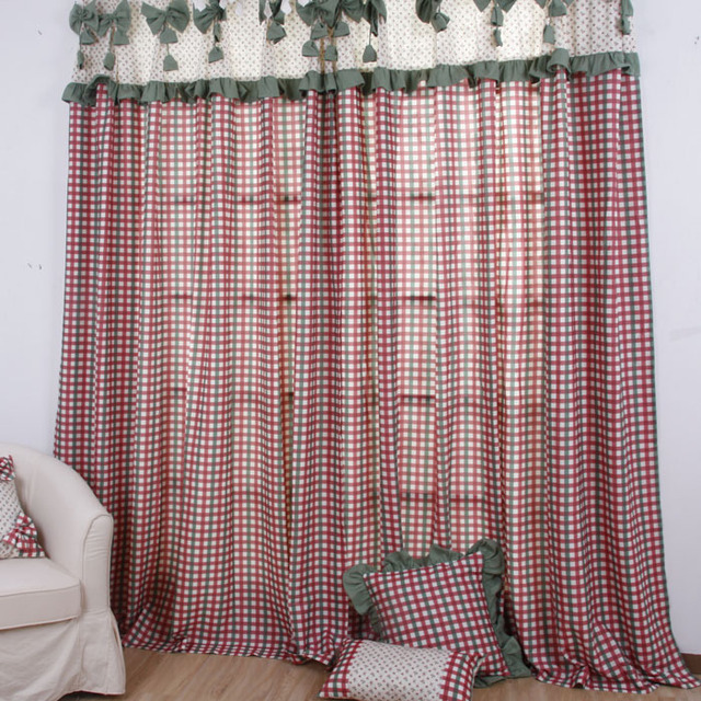 American small square grid curtain the finished curtain curtains for living room Bedroom custom made curtains
