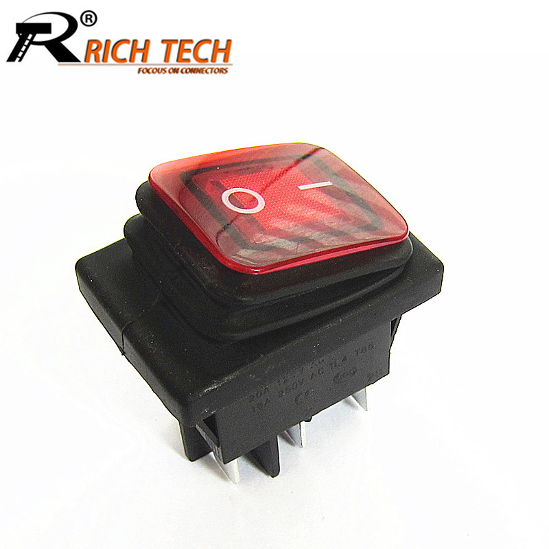 2pcs KCD2 KCD4 Waterproof Boat Rocker Switch 2Position 4pin/6pin Cooper Feet Push Button Power Switch with Light Black/Red/Green