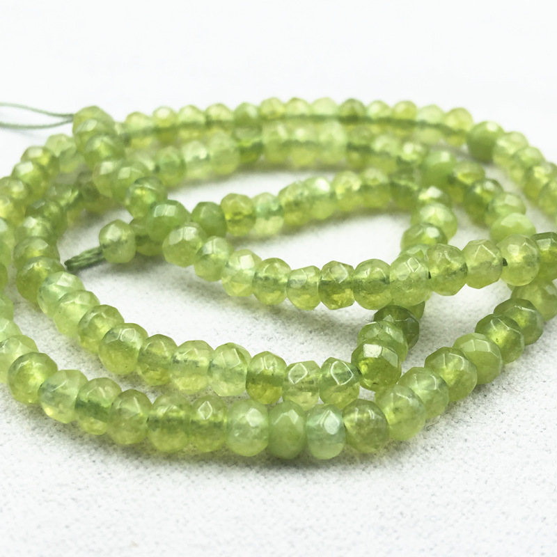 Jewelry Making 2x4mm Natural Stone Olivine Green Peridot Jades Chalcedony Loose Faceted Abacus Beads Spacer Finding 14inch A148(China)