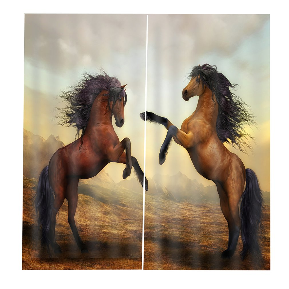 2pcs Cartoon Horse Blackout 3D Window Curtain Animal Cushion Curtain 170*200cm Modern Home Decoration