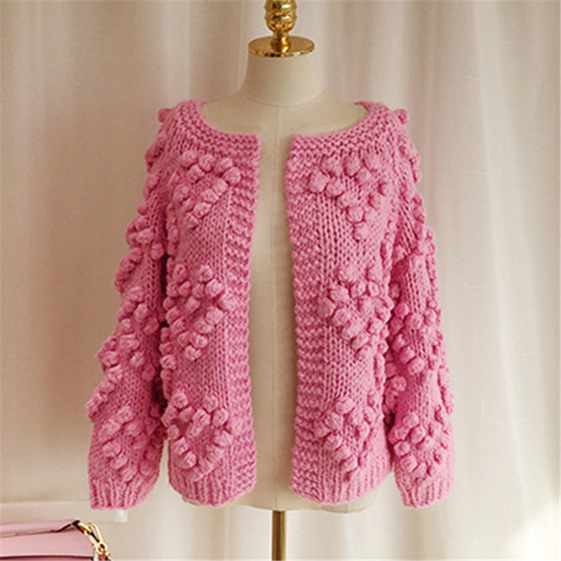 Hand Knitted Hearts Women Cardigan Loose Vintage Sweet Girl Open Stich 2019 New Auttum Winter Fashion Sueter Mujer 68638