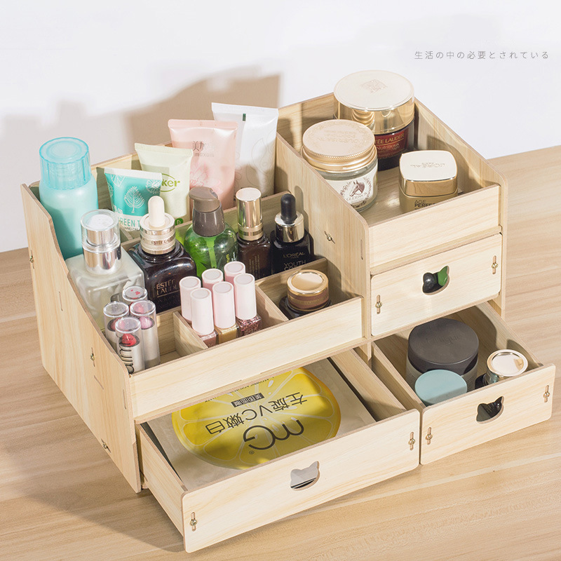 DIY Wood Desk Organizer Multifunctional Desk Sets Cabinet Makeup Organizer Wooden Storage Box For Office Accessories Stationery kingfom 5 pcs modern upscale leather office supplies sets stationery storage box mouse pad card holder desk sets brown t50h