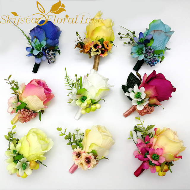 Artificial flower arrangement wedding corsages and boutonnieres silk artificial flower arrangement wedding corsages and boutonnieres silk flower boutonniere brooch decoration for prom mightylinksfo