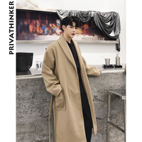 Privathinker Men Long Coat Winter 2018 Mens Belt Long Jacket Designer Overcoat Male Solid Ribbon Green Windbreaker Trench Coat