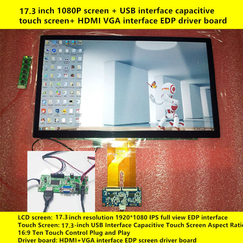 17.3 Inch 1920x1080 IPS 10 Point Capacitive Touch Display Screen LCD Module HMDI Portable Raspberry Pi 3 Car Aerial Monitor PC