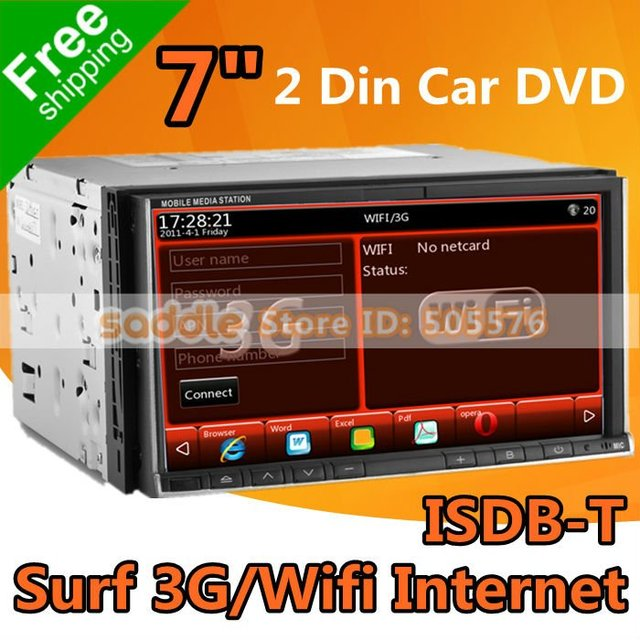"""Universal 7"""" 2 DIN CAR DVD Carro with GPS ISDB-T MP5 1080P iPod RDS Bluetooth WinCE 6.0 Office 3G Wifi ... DVD Car Wholesale !"""