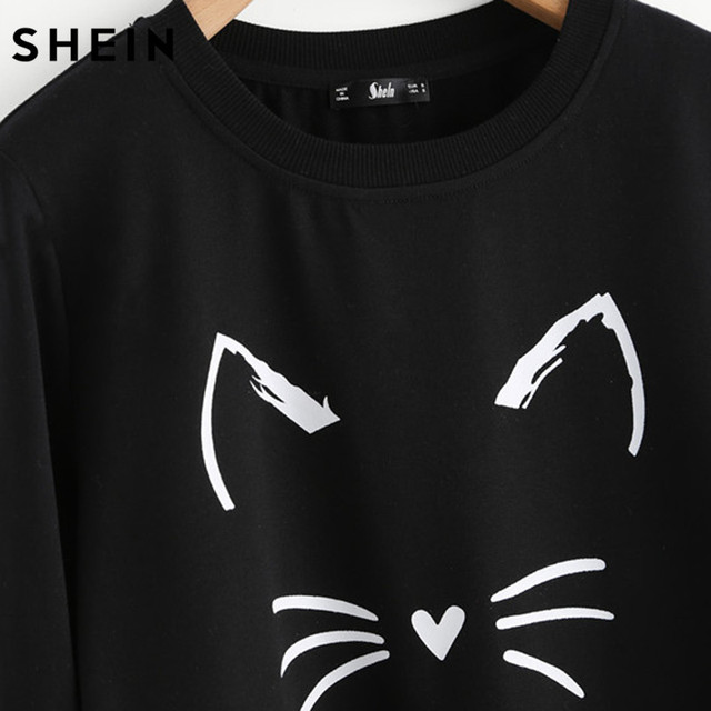 Sweatshirt With Cute Cat Print