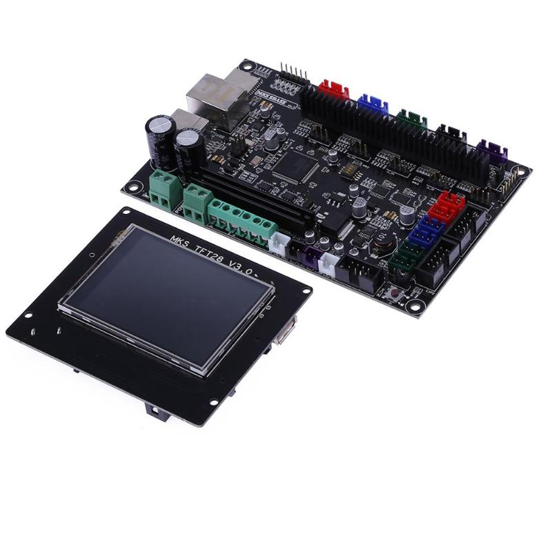 3D Printer MKS SBASE V1.3 32bit Control Board + TFT28 LCD Touch Display Support Network Function 3D Printer Parts Accessories