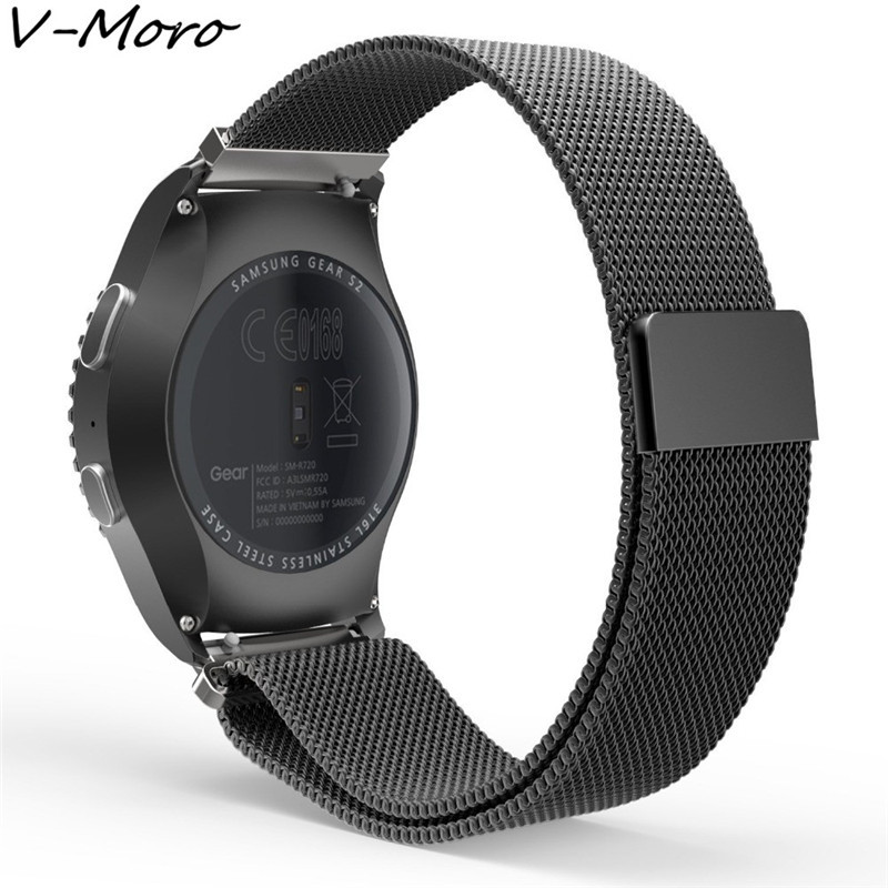 цена на V-MORO Milanese Loop Strap For Samsung Gear S2 Classic Watch Band replacement Stainless Steel Mesh band For gear s2 classic