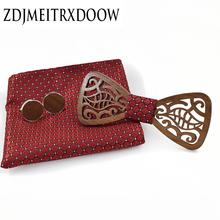 2017 new suits launched square wooden tie cufflinks set fashion dress suit dress party gentleman quality wooden tie gift set