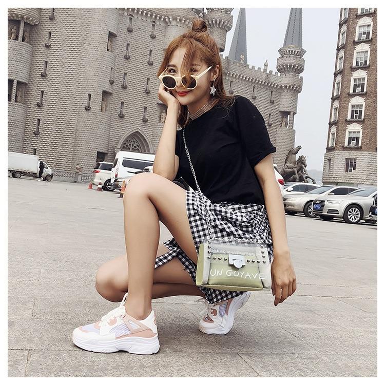 18 Summer Fashion New Handbag High quality PVC Transparent Women bag Sweet Printed Letter Square Phone bag Chain Shoulder bag 16