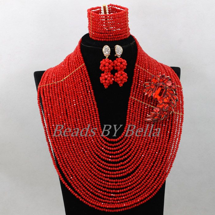Amazing Big Full Beads Red Women Costume African Bridal Jewelry Sets Nigerian Wedding Crystal Necklace Set Free Shipping ABK597 amazing red nigerian wedding african beads jewelry set costume african jewelry sets bridal beads necklace free shipping abl001