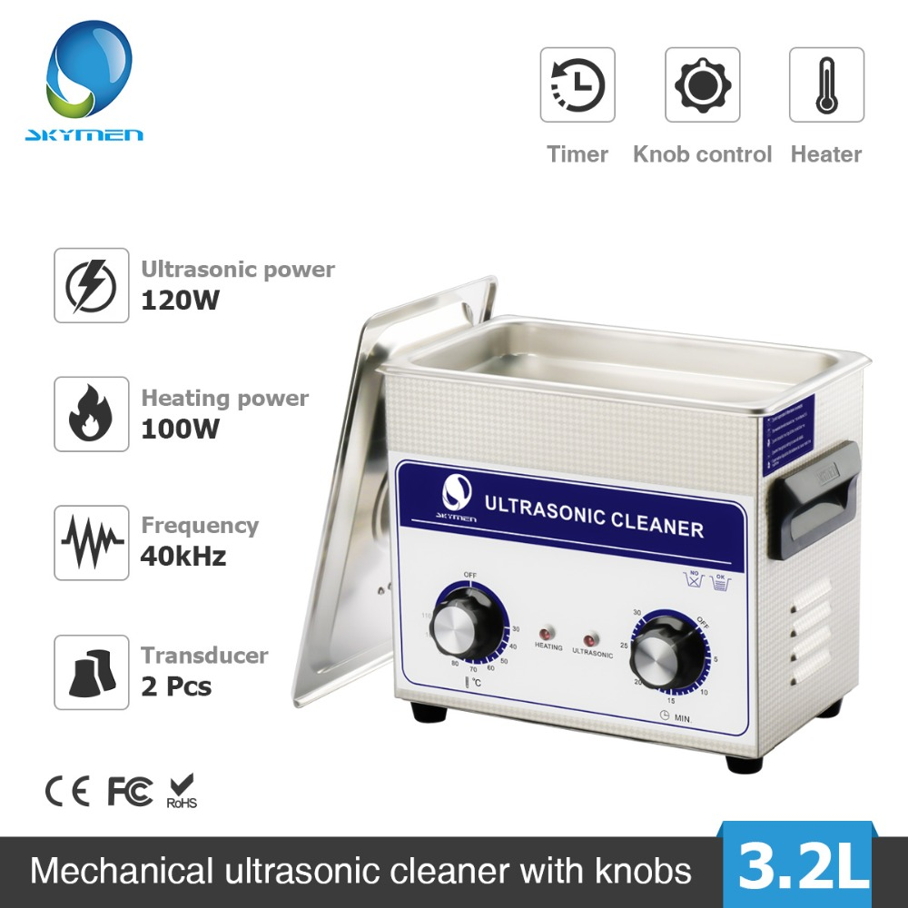 Skymen 3.2L Ultrasonic Cleaner Bath Knob Control Heater Timer Cleaning Metal Parts Circuit PCB Basket Ultrasound Machine