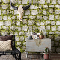 3D Imitation Grass Plants Brick Stereo Wallpaper Stone Bricks Wall Paper Home Decor Barber Shop Clothing Store Background