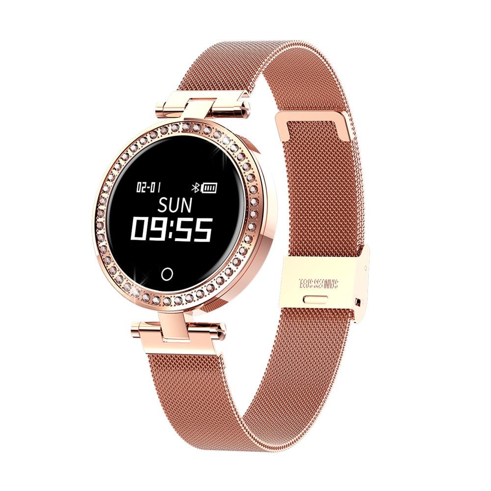 X10 Senhoras Relógio Inteligente Rodada Para As Mulheres IP68 Pedômetro Calorie Heart Rate Monitor de Pressão Arterial Mensagem de Lembrete de Chamada Smartwatch