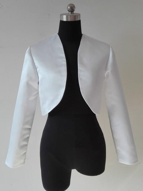 White Black Shawl Bolero Wedding Jacket Bridal Shrug Wraps Long Sleeve Satin  Custom Size T51 31a8ade30e34