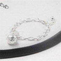 JINSE Promotion Wholesale 925 Fine Bracelet 925 Fine Fashion Jewelry Bell Charms Bracelet For Women 18
