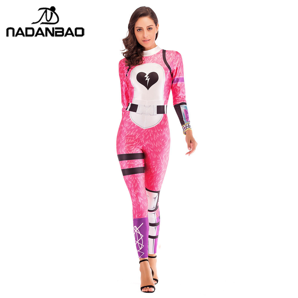 NADANBAO Pink Bear Costume Cosplay Cuddle Team Leader Jumpsuit Harror Halloween Costumes For Women Plus Size