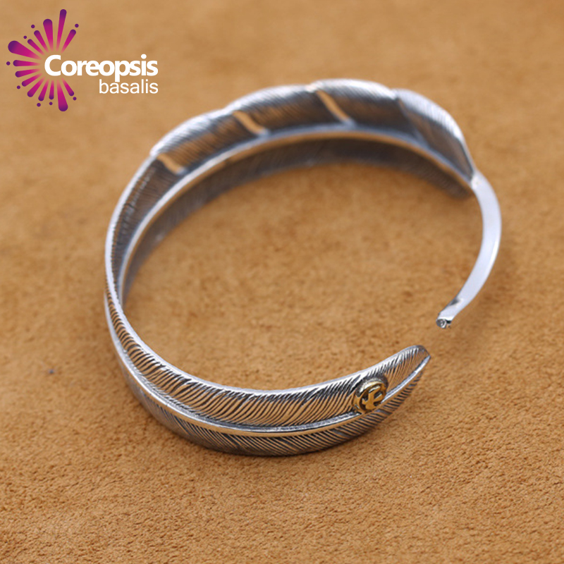Thai Silver Genuine 925 Silver Mens Jewelry Bracelets For Men Male Open Goro Feather Bracelet