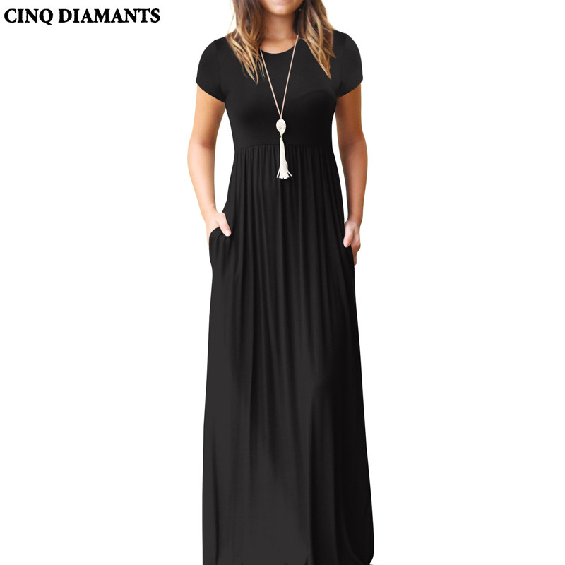CINQ DIAMANTS Women Maxi long Dress Summer Short Sleeve Pocket Dress Female Black Green Casual Clothing Femme Robe vestido longo