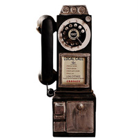 Vintage Resin Telephone Model Ornaments Home Decoration Retro Wall Hanging Phone Miniature Figurines Old fashioned Crafts Gifts