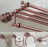 New brass and Jade Rose Gold Bathroom Accessories Set,Paper Holder,Towel Bar,Soap basket,towel rack,hook bathroom Hardware set