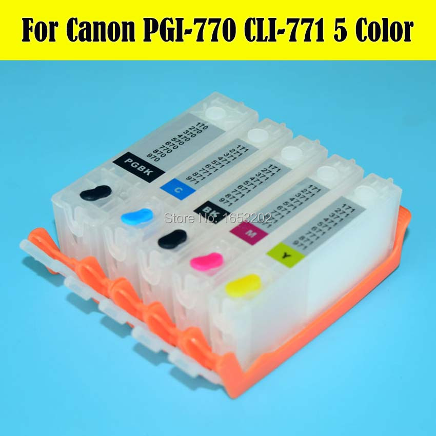 ФОТО 5 Color/Set For Canon PGI-770 CLI-771 Ink Cartridge For Canon For PIXMA MG5770 MG6870 Printer With Auto Reset Chip