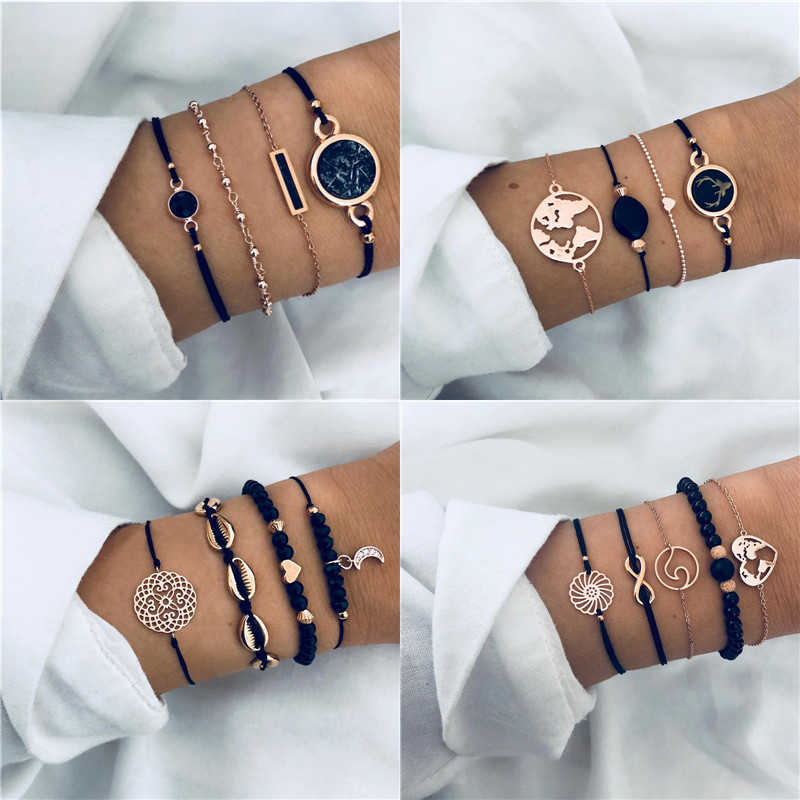 Modyle 2019 New 33 Styles 4 pcs/set Bohemia Rose Gold Color Black Stone Bracelet Set Fashion Jewelry for Woman Dropshipping