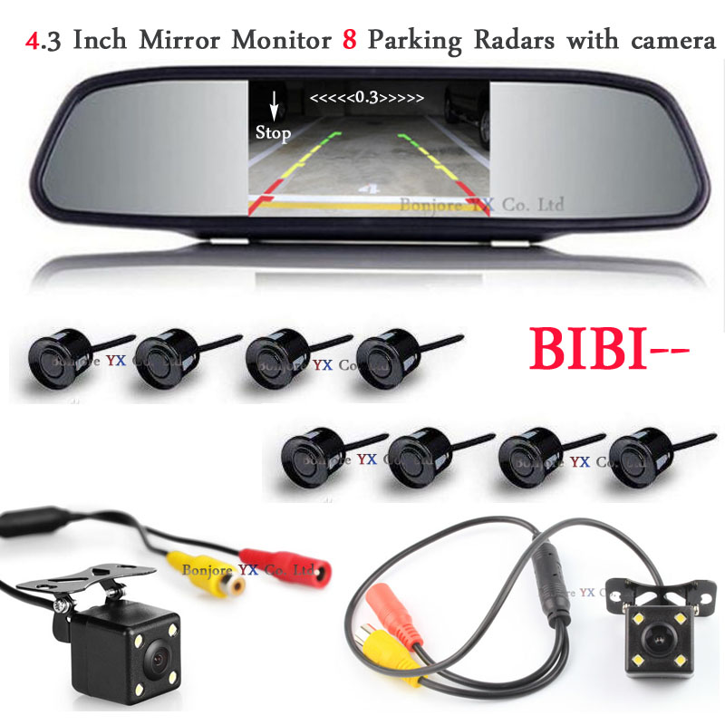 Dual Core CPU 4.3inch Monitor Mirror Car Parking Sensor 8 Redars Car Rear / Front view Camera Parktronic system Rear view mirror