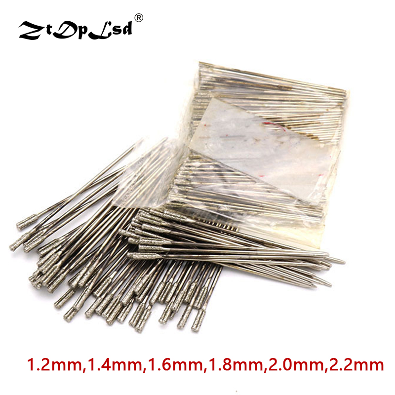 6Pcs 1.2~2.2mm Diamond Coated Lapidary Drill Bit Solid Bits Needle For Jewelry Ceramic Jade Agate Glass Amber Drilling Tool