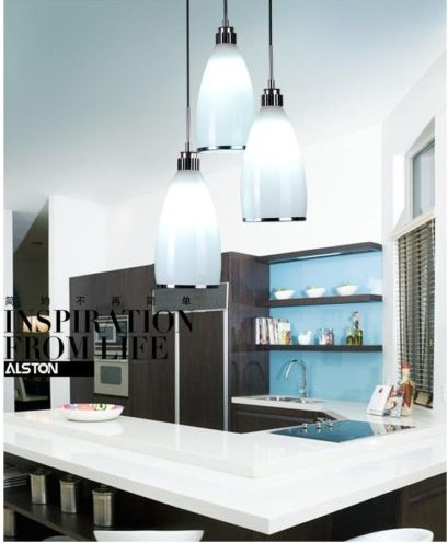 New Modern White Glass Shade Light Dinner Room Pendant Lamp Kitchen Bar Chandelier Bedroom Lighting