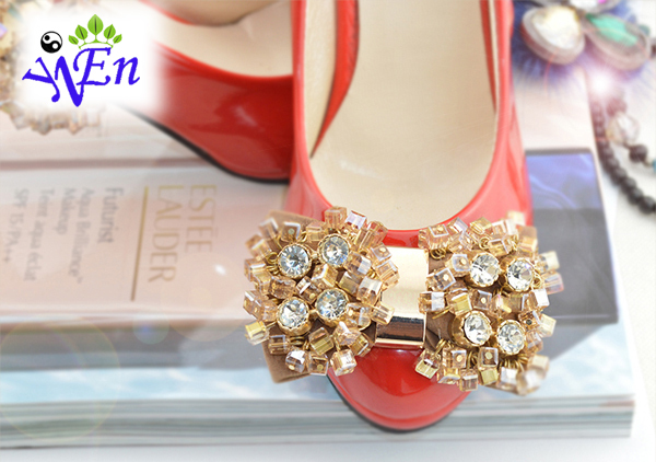 1 pair yellow  fabric bowtie shoe decorationshoes flower clip with glass beads and crystal B408