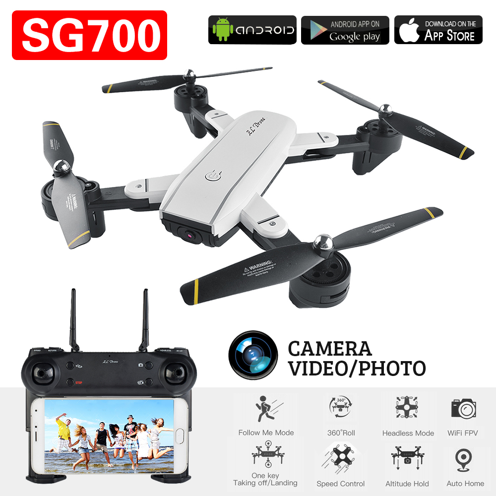 SG700 FPV RC Quadcopter RC Drone With Wifi Camera 2.4G 4CH 6-Axis Headless Mode Altitude Hold,Foldable RC Helicopter VS XS809HW jjrc h12wh wifi fpv with 2mp camera headless mode air press altitude hold rc quadcopter rtf 2 4ghz