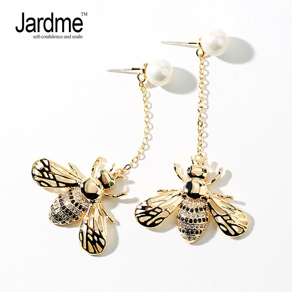 Jardme Luxury Cubic Zirconia Bee Drop Earrings Gold Chain Pearl Fashion Jewelry Stainless Steel Party Wedding Gift Dropshipping