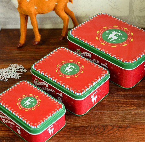 Us 13 97 5 Off 2016 New 3pcs Lot Square Deer Merry Christmas Gift Box Metal Storage Case Tin Can Candy Cookie Box Chrismtas Ornament Gift In Gift