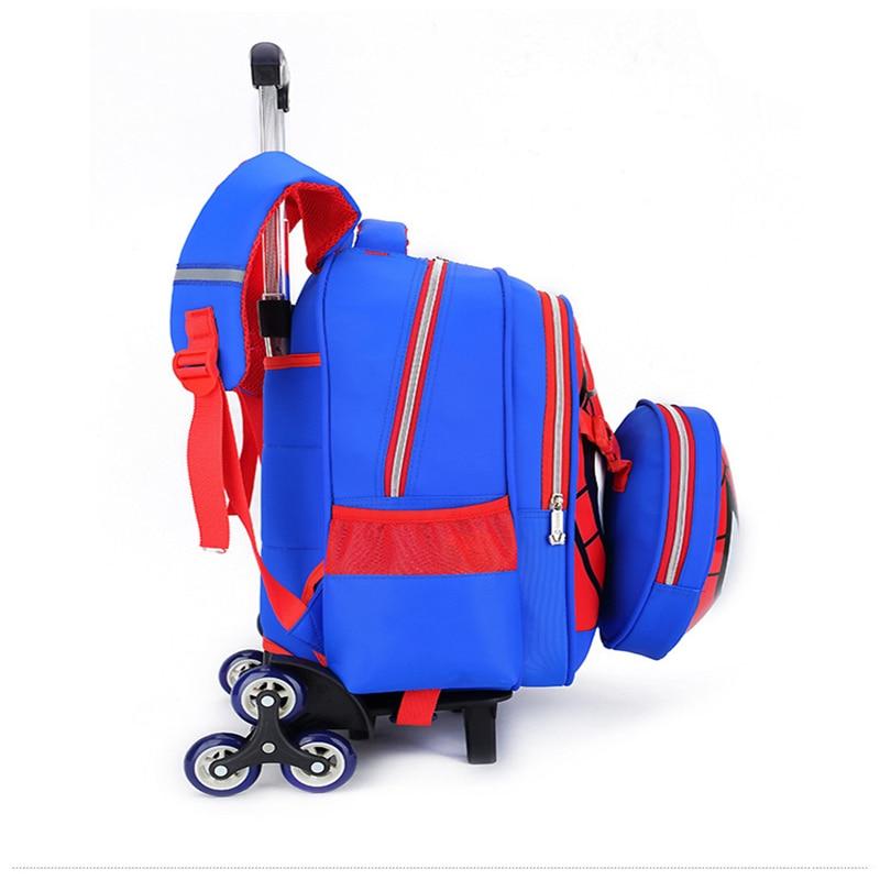 Children Waterproof Cartoon Spiderman Backpacks on Wheels Primary School Trolley Bags for Kids Backpack with Wheels Backpacks in School Bags from Luggage Bags