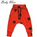 6a meninos calças Harem calças largas Harem calças estrela de cinco pontas impresso Elastic Wasit Hip Hop calça JH-151272