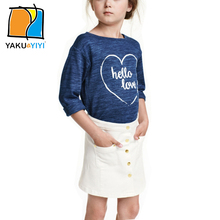 YKYY YAKUYIYI 2016 Brand New Autumn Crew Neck Long Sleeve Girls Jumper Blue Letters Printing Girls Sweatshirt Children Clothing