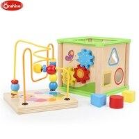 木製早期教育おもちゃ5で1活動キューブ赤ちゃん早期学習おもちゃ時間クロック認知する子供喜び面白いギフト